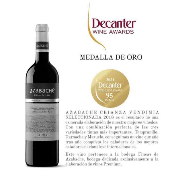 Azabache Crianza Decanter World Wine Awards gold medal DWWA