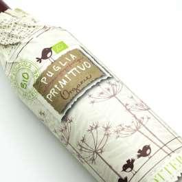 Organic Primitivo di Puglia with artistic paper wrap label