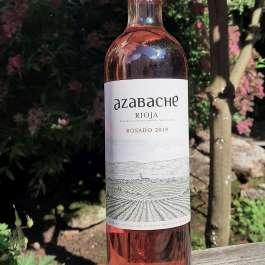Azabache rioja rosado bottle in garden