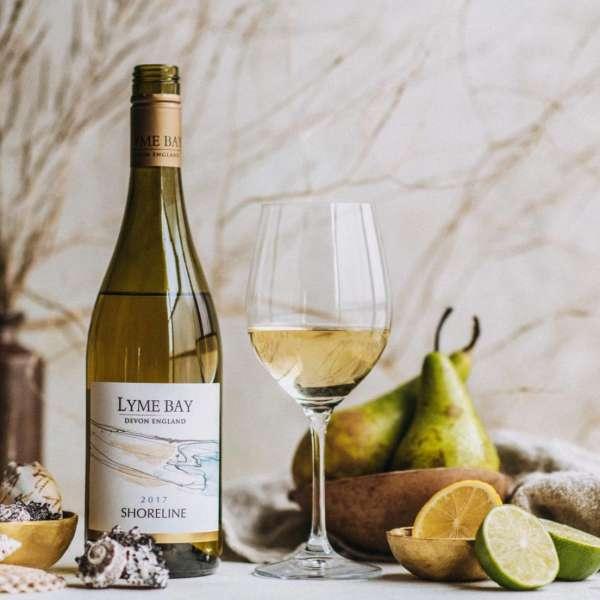 Lyme Bay shoreline english white wine photo table layout