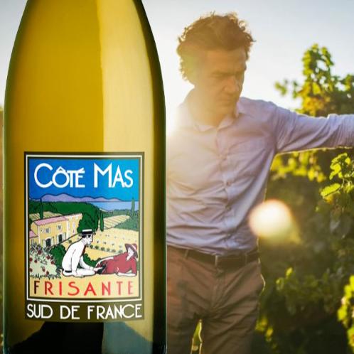 Cote Mas Frisant Blanc de Blancs sparkling wine with paul Mas