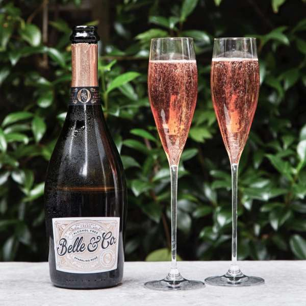 belle and co alcohol free sparkling rose wine