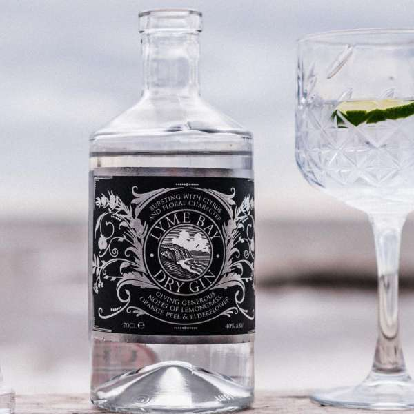 Lyme Bay gin with glass