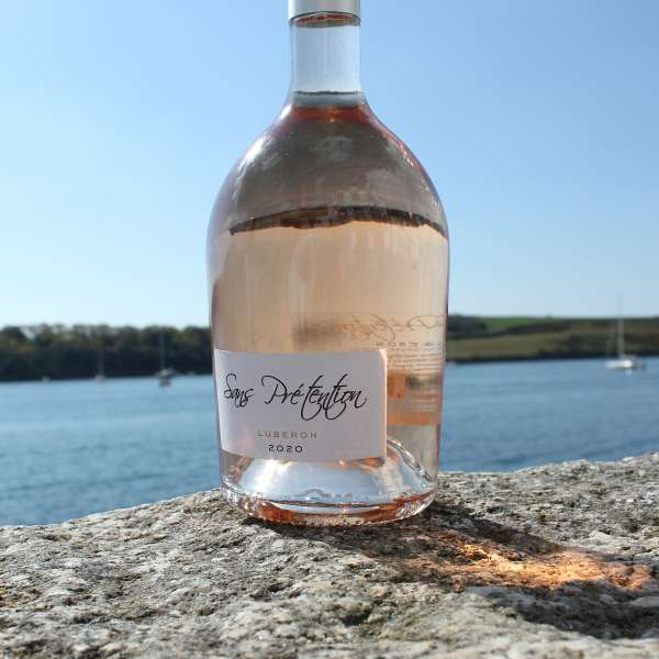 San Pretensions rose wine on st mawes harbour wall in cornwall